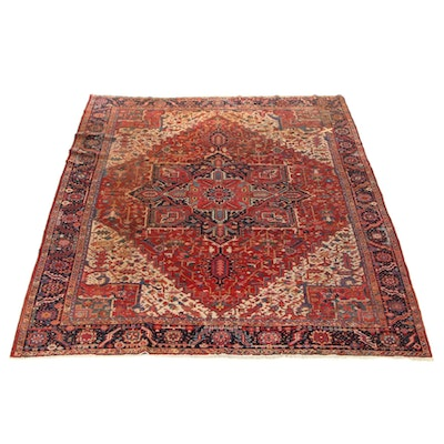 10'5 x 12'10 Hand-Knotted Persian Heriz Room Sized Rug, circa 1930s