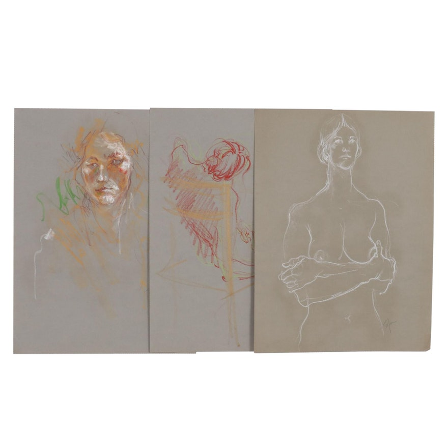 John Tuska Figural Pastel Drawings, Late 20th Century