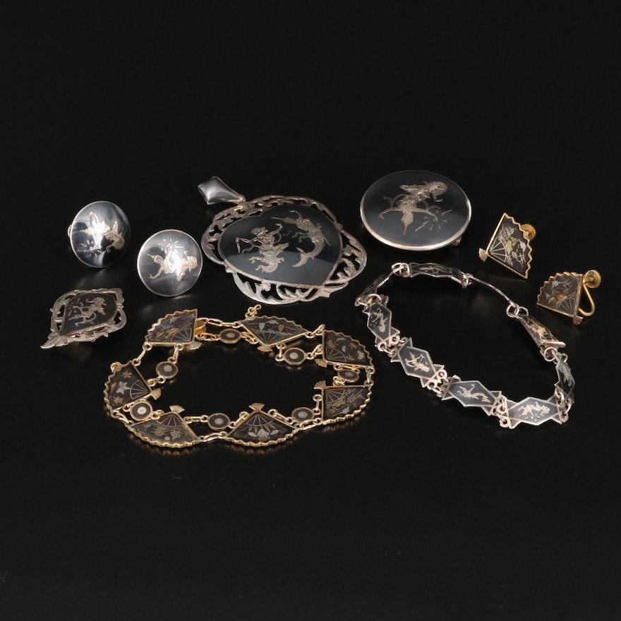 Vintage Siam Niello Sterling Jewelry with Damascene Fan Bracelet and Earrings