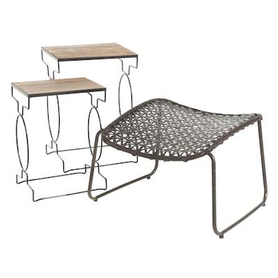 Art Deco Style Nesting Garden Tables and Woven Outdoor Tilt Stool