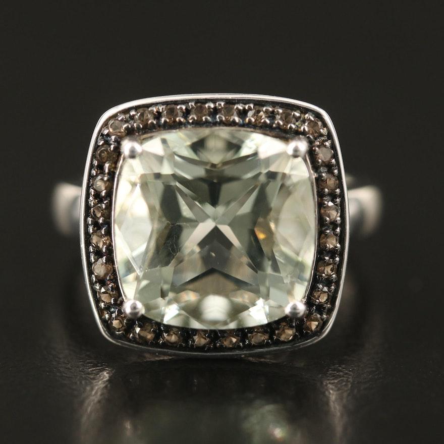 Sterling Prasiolite and Smoky Quartz Halo Ring