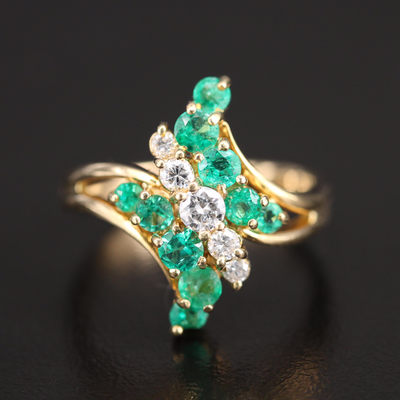 18K Diamond and 1.00 CTW Emerald Bypass Ring