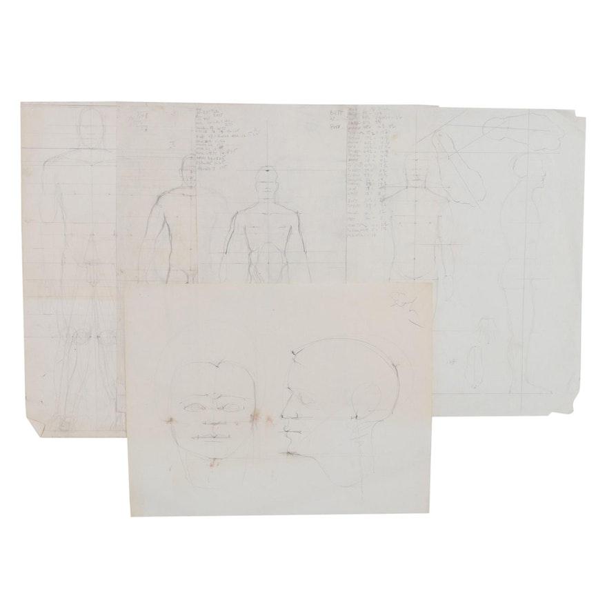 John Tuska Anatomical Graphite Drawings, 1992