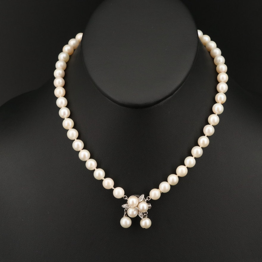 Pearl Necklace with Diamond and 14K Clasp