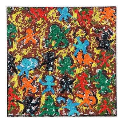 "Irwin Wiener Acrylic Painting ""Helter Skelter"""