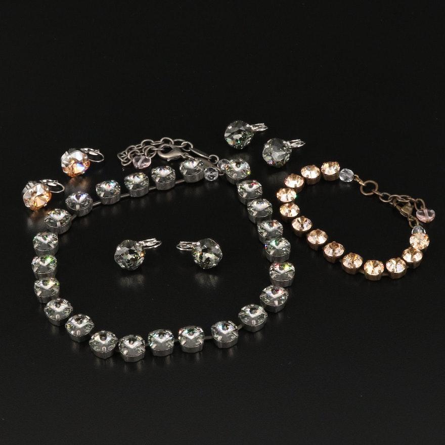 Rhinestone Necklace, Bracelet and Earrings