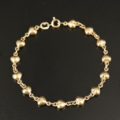 14K Puff Heart Link Bracelet
