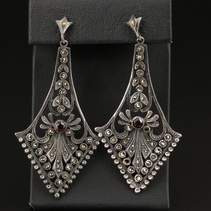 Sterling Silver Garnet and Marcasite Drop Earrings