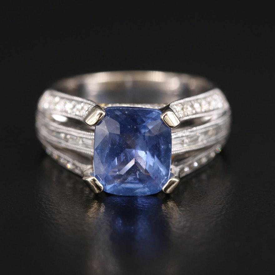18K 2.83 CT Sapphire and 1.00 CTW Diamond Ring with Milgrain Detail