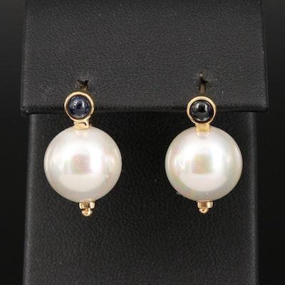 Italian Zoccai Jewelry 18K Imitation Pearl and Sapphire Earrings