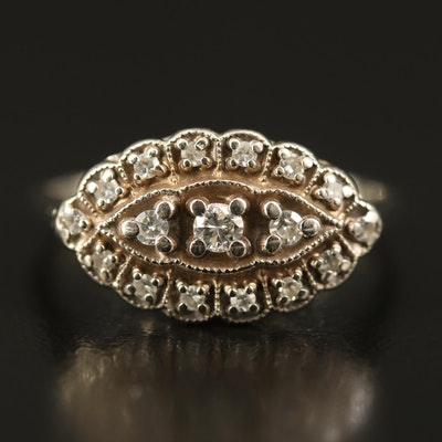 Circa 1950s 14K Diamond Princess Ring