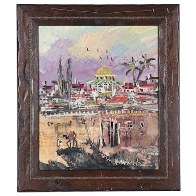 Morris Katz Oil Painting of Middle Eastern Landscape, 1983