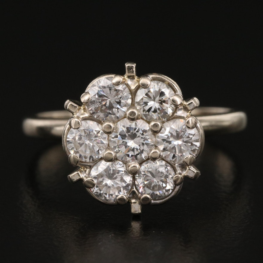 14K 1.12 CTW Diamond Cluster Ring with 10K Shank