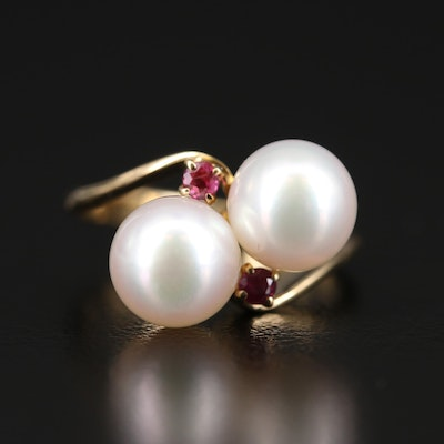 14K Pearl and Garnet Bypass Ring