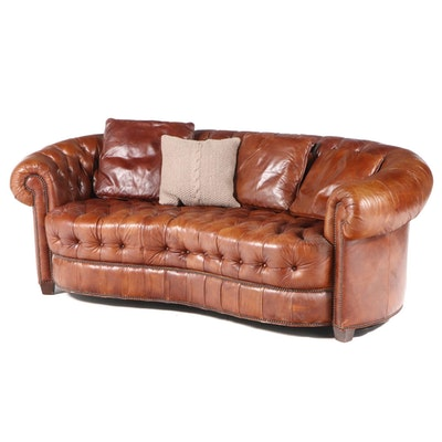 Chesterfield Style Button Tufted Leather Sofa, Late 20th Century