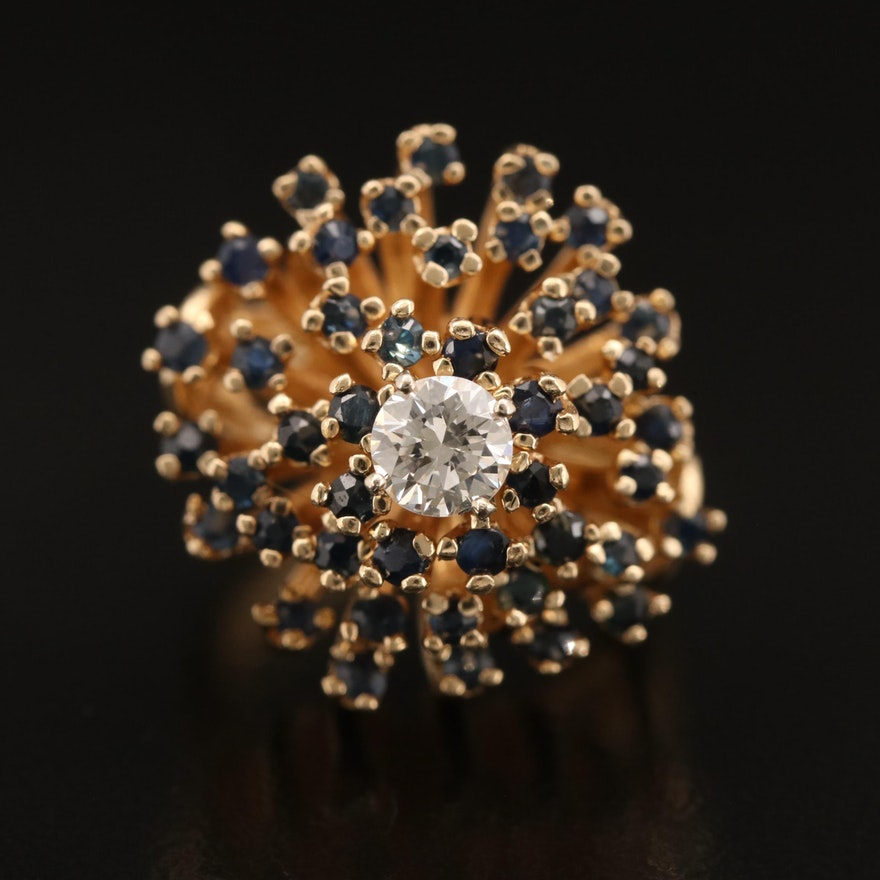Vintage 14K Diamond and Sapphire Biomorphic Ring