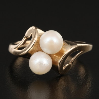 10K Pearl Ring with Scrolled Setting