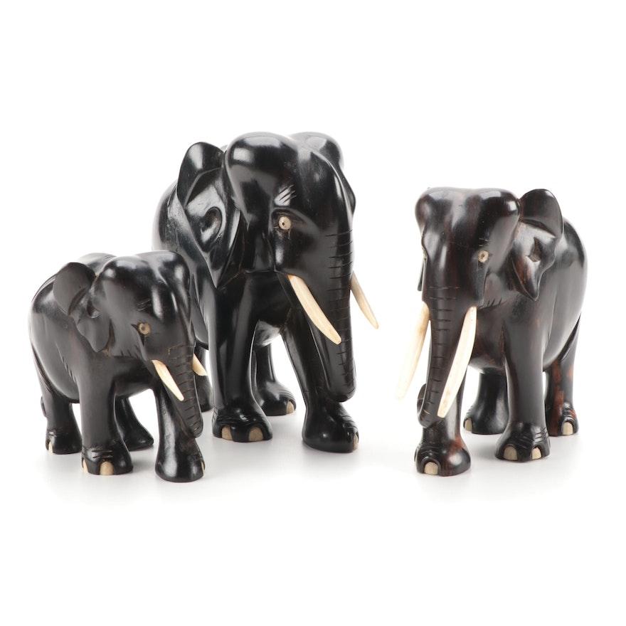 Set of Ebony Wood and Resin Elephants in Three Sizes