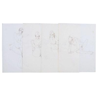John Tuska Figure Ink Drawings, Late 20th Century