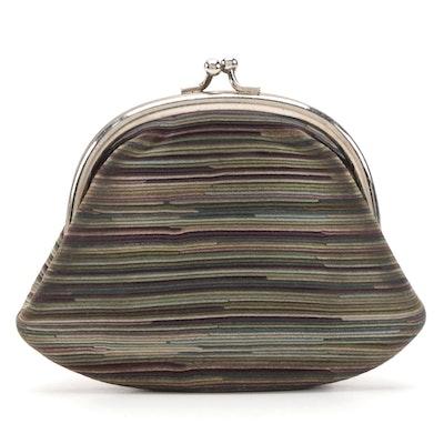 Hermès Striped Suede Kiss-Lock Coin Purse