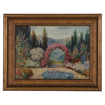 Neil MacPherson Landscape Oil Painting of Flower Garden, 1933