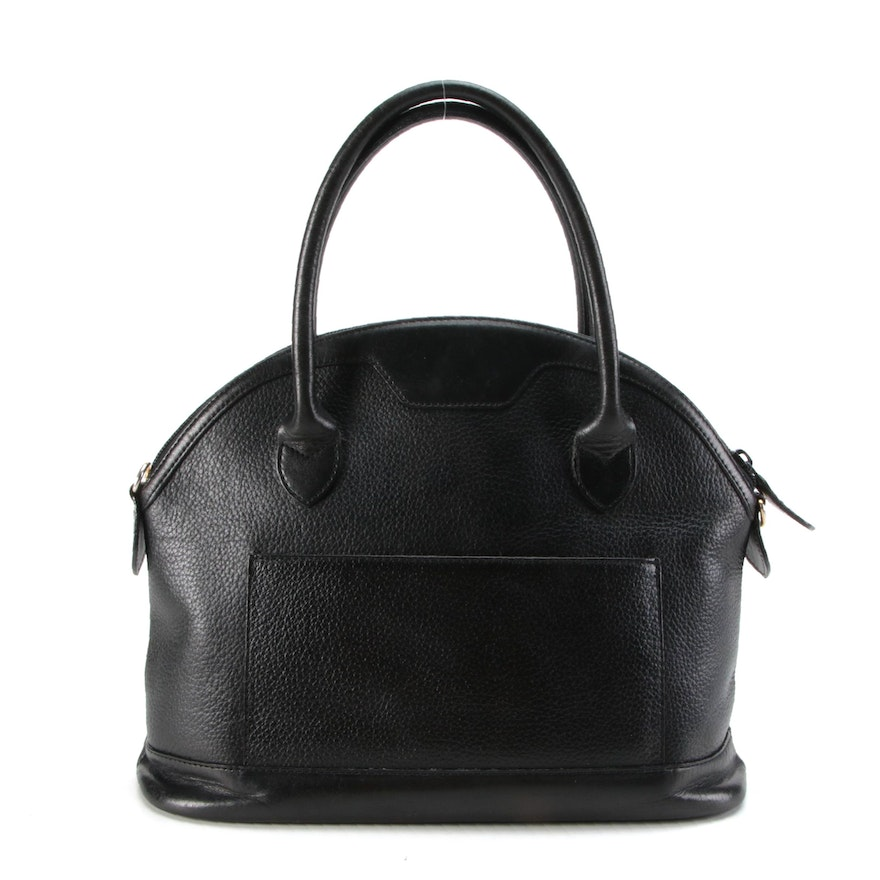 Burberrys of London Black Pebble Grained Leather Domed Satchel