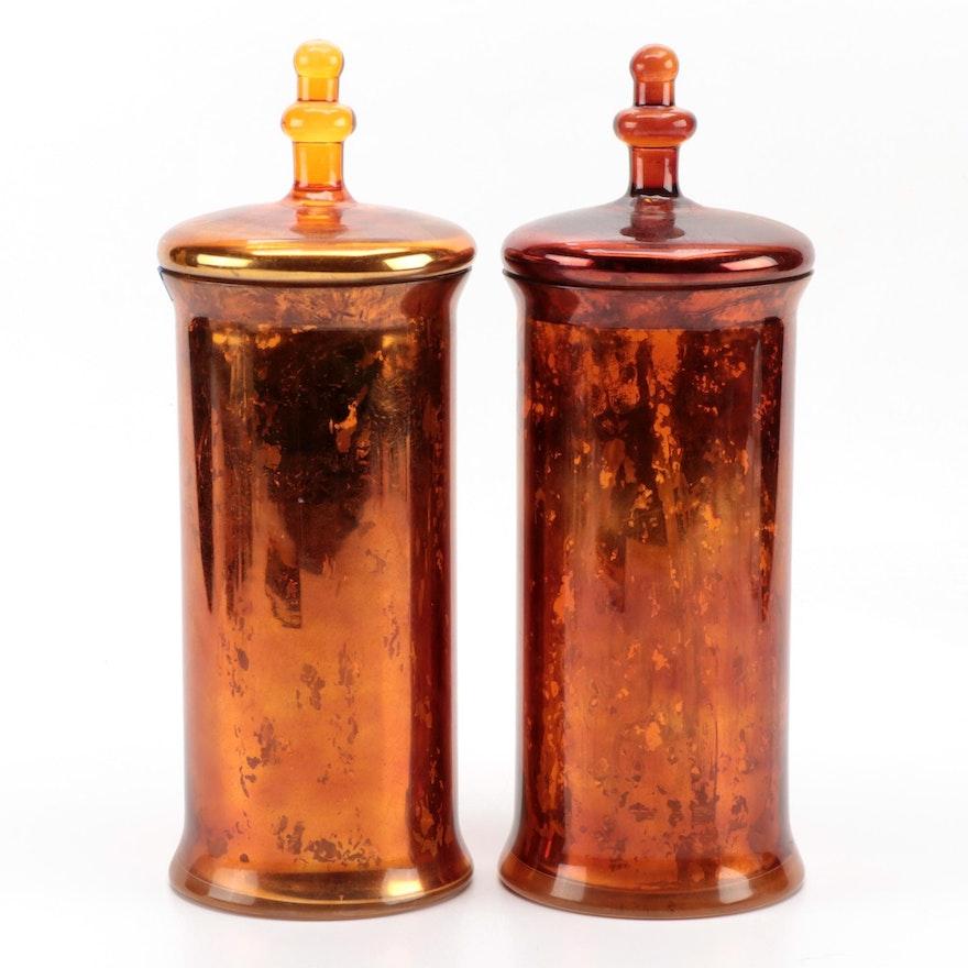 Copper Mercury Glass Decorative Apothecary Jars