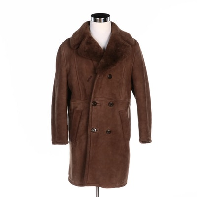 Men's Brown Sheepskin and Shearling Double-Breasted Coat