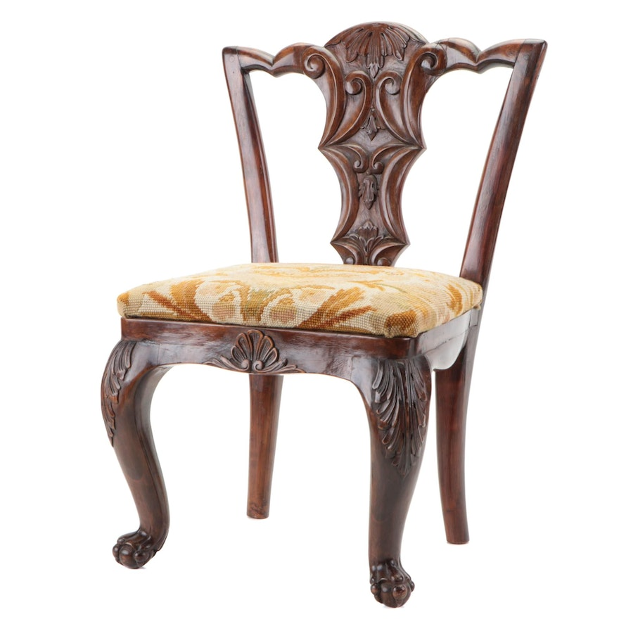 Victorian Walnut-Stained Child's Chair with Needlepoint Cushion, Late 19th C.