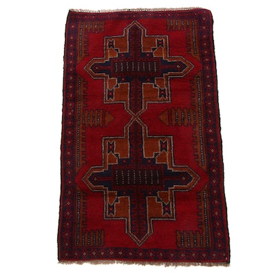 2'9 x 4'8 Hand-Knotted Afghan Turkmen Accent Rug, 2000s