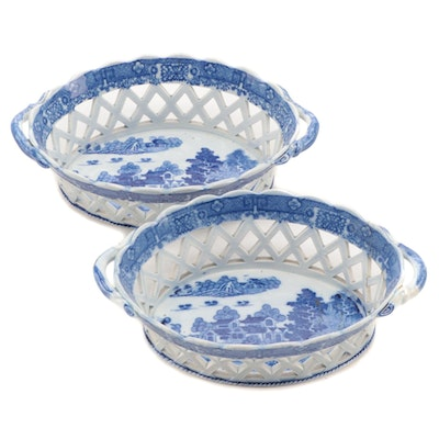 English Blue Transferware Ironstone Chestnut Baskets, Early to Mid 19th Century