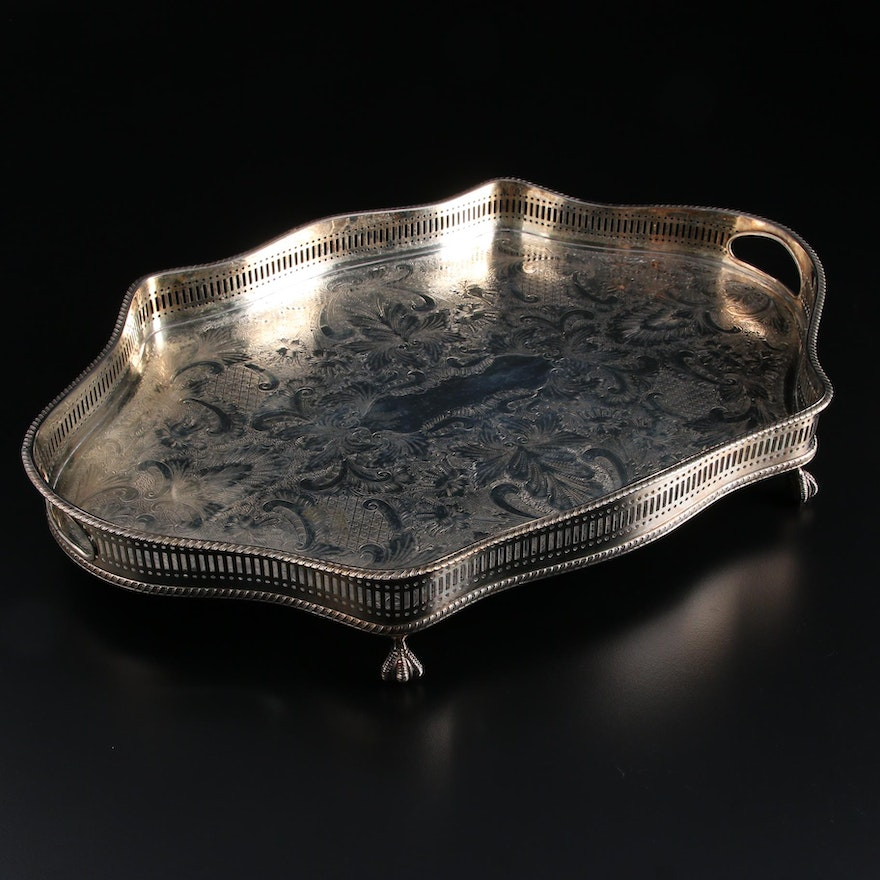 Reed & Barton Sheffield Silver Plate Claw Foot Gallery Tray,  Late 20th Century