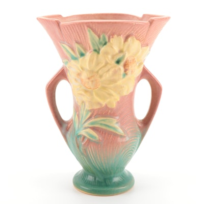 "Roseville Pottery ""Peony"" Handled Vase, 1940s"