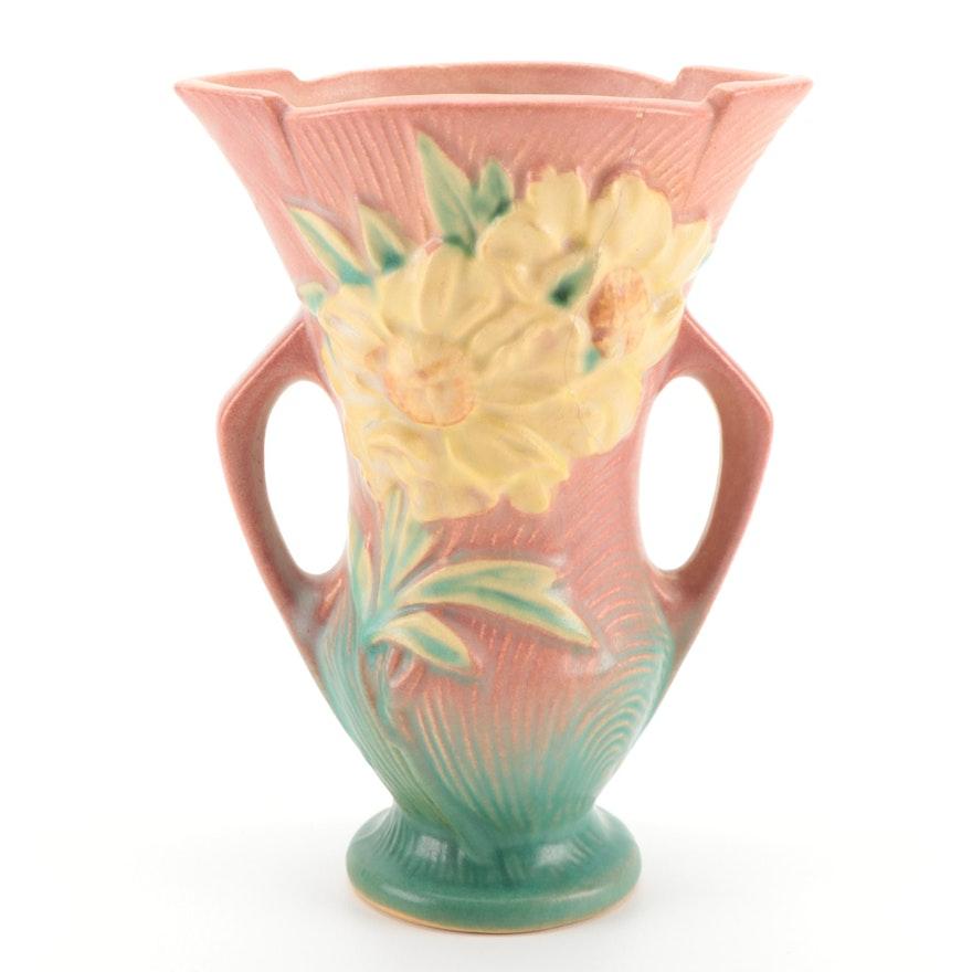 "Roseville Pottery ""Peony"" Handled Vase, 1940s"