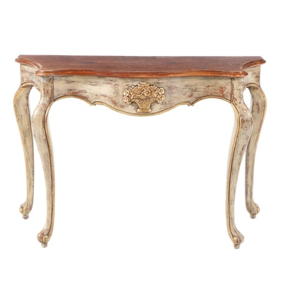The Bombay Company Distressed Finish Serpentine Apron Console Table