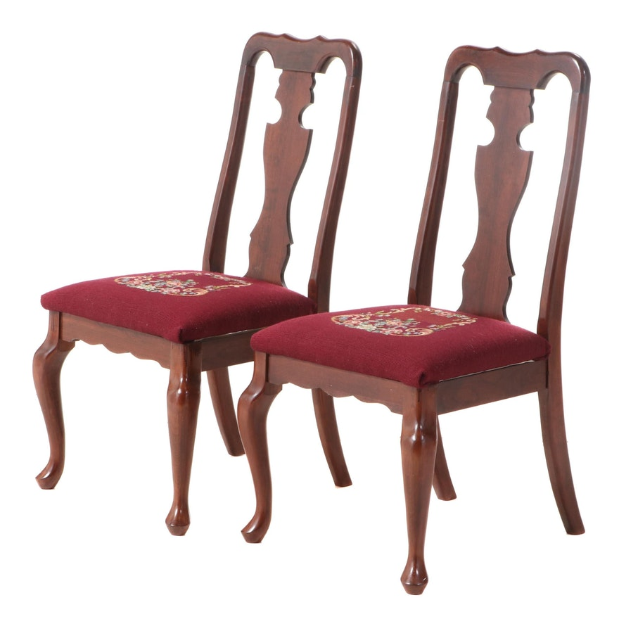 Pair of Queen Anne Style Cherry Fiddleback Side Chairs, Late 20th Century