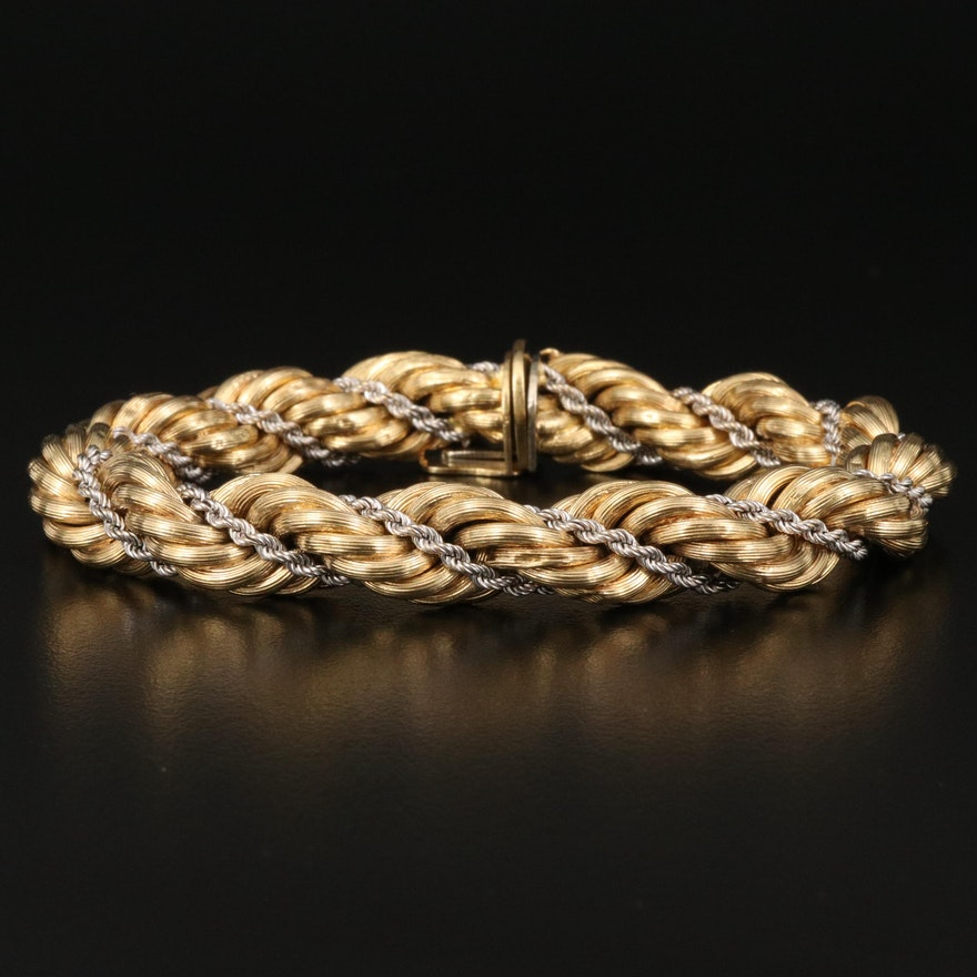 18K Two-Tone Gold Double French Rope Bracelet