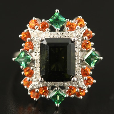 Sterling Moldavite, Diamond and Topaz Ring