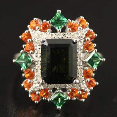Sterling Moldavite, Diamond and Topaz Ring