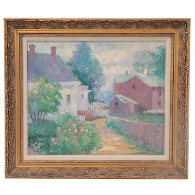 Jean Bruste Impressionist Style Landscape Oil Painting of Houses