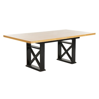 Contemporary Ebonized and Blonde Wood Extension Dining Table