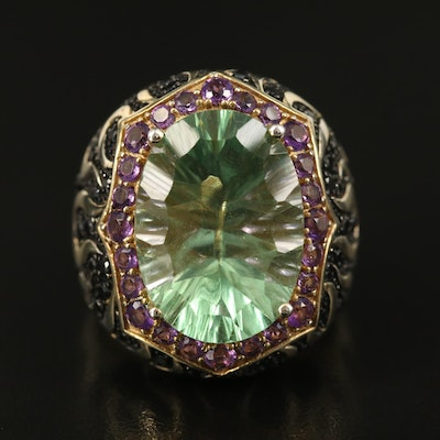 Sterling Flourite, Amethyst and Spinel Statement Ring