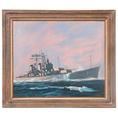 Joseph Ryan Corish Nautical Oil Painting of Battleship, Mid-Late 20th Century