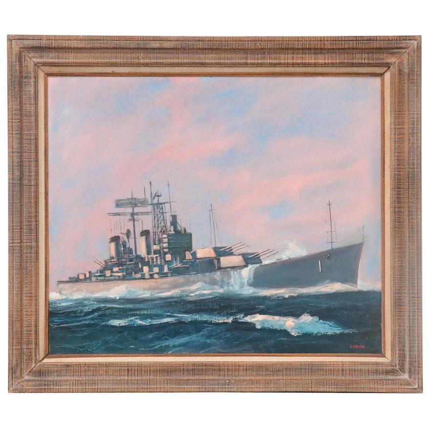 Joseph Ryan Corish Nautical Oil Painting of Battleship, Mid-Late 20th Century