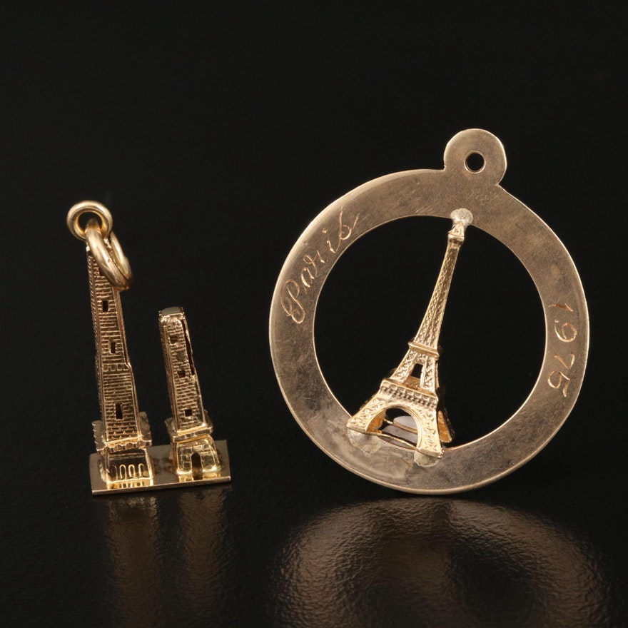 14K Eiffel Tower and 18K Himalayan Towers Charms