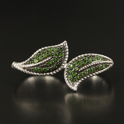 Sterling Diopside Leaf Double Finger Ring