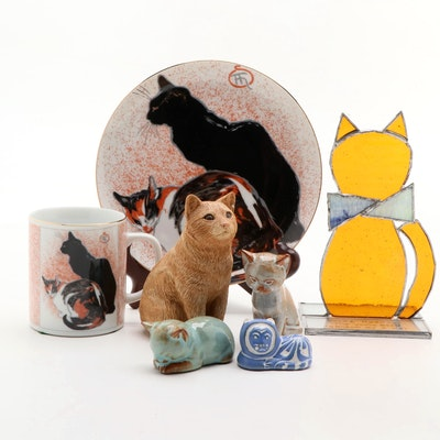 Museum of Fine Arts Cat Plate and Mug with Other Cat Plates and Figurines