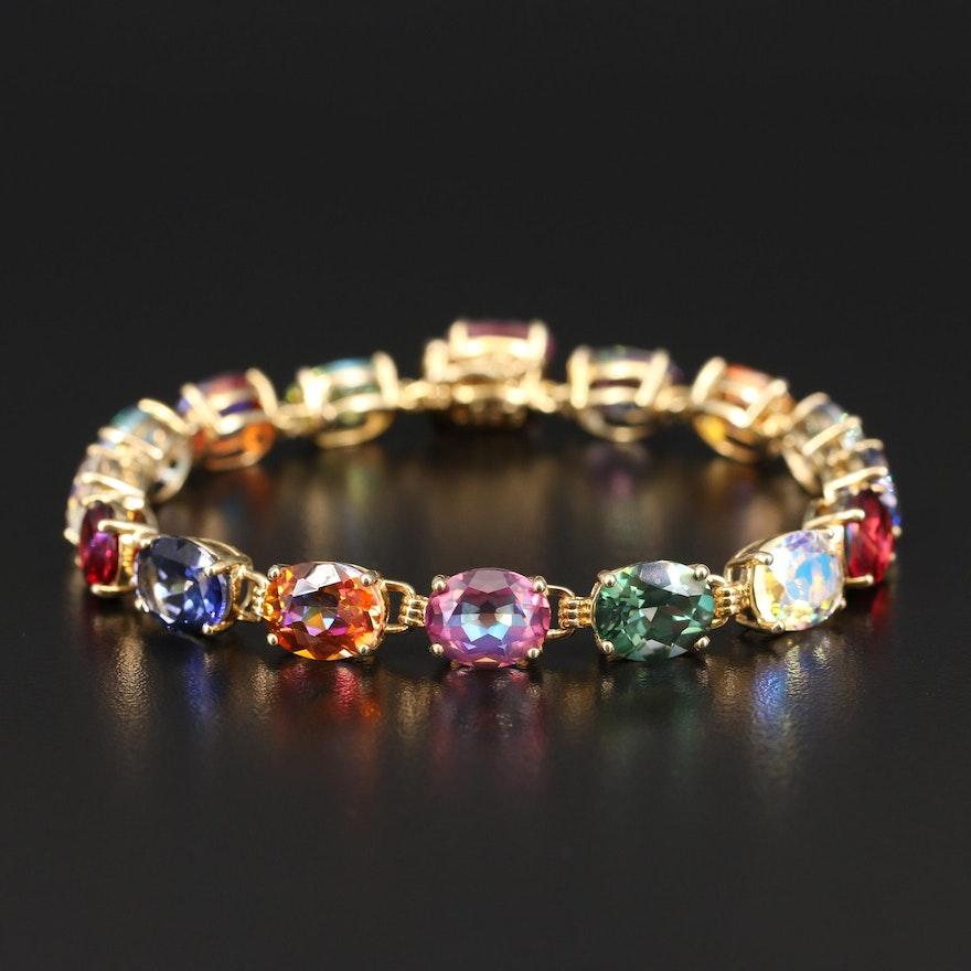 Sterling Rainbow Quartz Link Bracelet