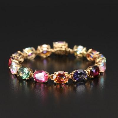 Sterling Multicolor Quartz Link Bracelet