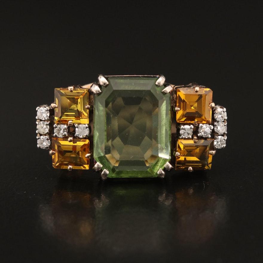 14K 6.20 CT Spodumene, Citrine and Diamond Ring